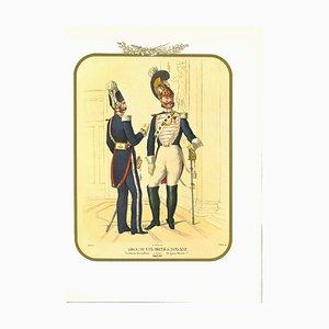 Antonio Zezon, Horse Bodyguards, Original Lithograph, 1851