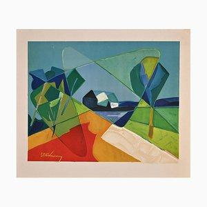 Unknown, Landscape, Original Offset und Lithografie auf Papier, spätes 20. Jahrhundert