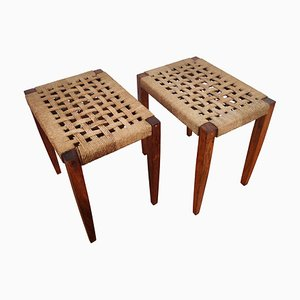 Italian Wood and Cord Woven Rope Stools, 1960s, Set of 2