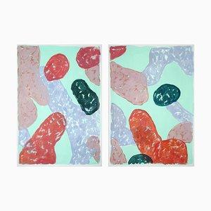 Abstrakte Stillleben-Malerei auf Papier, Spätsommer-Frucht, warme Pastelltöne, 2021
