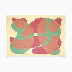 Large Painting, Mid-Century Translucent Shapes, Warm Tones, 2021