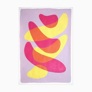Overlapping Strokes on Mauve, Vivid Lime and Pink Minimal Gestures Painting, 2021