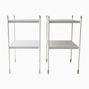 Two-Tier White Side Tables with Brass Ornaments, 1960s, Set of 2
