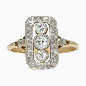 Rechteckiger Diamond Ring aus 18 Karat Gelbgold in Weißgold, 1930er