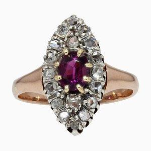 Roségoldfarbener Marquise Ring aus Granatrot, 19. Jh