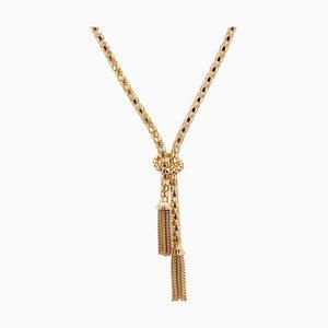 Französische 18 Karat Orvet Halskette aus Geflecht in Gold & Quasten, 1950er