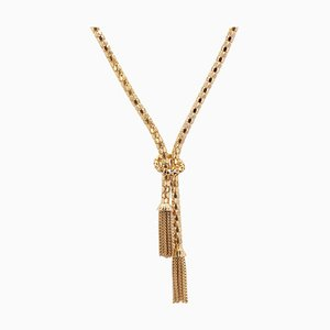 French 18 Karat Yellow Gold Orvet Mesh and Tassels Necklace, 1950s