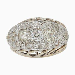 French Diamonds Platinum 18 Karat White Gold Ring, 1950s