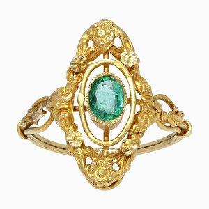 Französischer Smaragdgrüner 18 Karat Ring in Gelbgold in Form einer Marquise, 1900er
