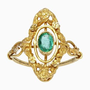French Emerald 18 Karat Yellow Gold Marquise Shape Ring, 1900s