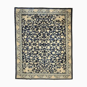 19th Century Blue & White Phoenix Floreal Rug, 1870s