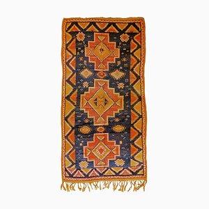 20th Century Blue Yellow Orange Berber Moroccan Rug, 1950s