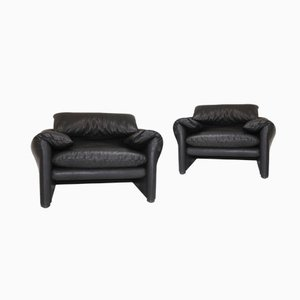 Vintage Black Leather Maralunga Easy Chairs by Vico Magistretti for Cassina, Set of 2