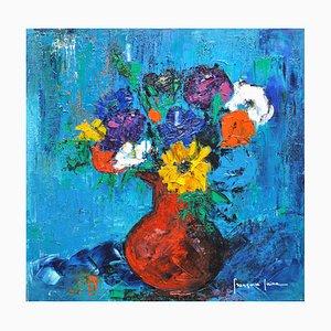 Françoise Laine, Blue Background Bouquet, 2019