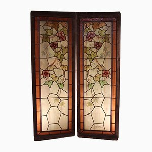 Art Nouveau Stained Glass Windows by Jacques Gruber, Set of 2