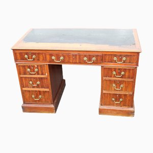 Solid Mahogany Pedestal Desk with Green Leather Top, 1900s