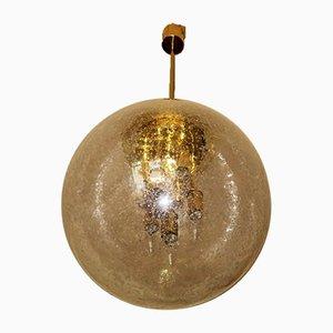 Lampada a sospensione in ottone e vetro smerigliato di Ger Furth per Doria Leuchten, anni '60