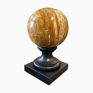 Italian Art Deco Marble Sphere on a Black Wood Base, 1930s
