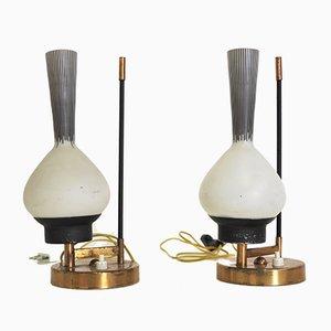 Lampes de Bureau en Verre, 1950s, Set de 2