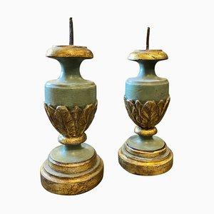 Torce siciliane in legno laccato intagliato a mano, XIX secolo, set di 2