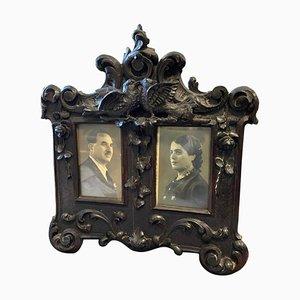 Sicilian Art Nouveau Hand-Carved Wood Picture Frame, 1900s