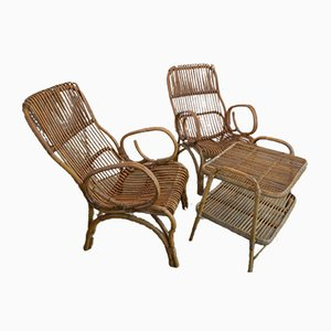 Rattan Parlors & Table, Italy, 1960s, Set of 3