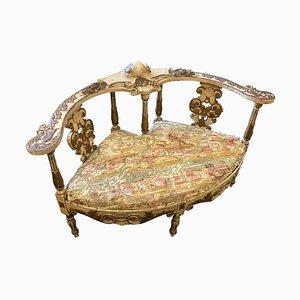 Italian Lacquered Wood Loveseat or Sofa, Late 19th Century