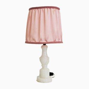 Weiße Tischlampe aus Marmor mit rosa Schirm, 1950er