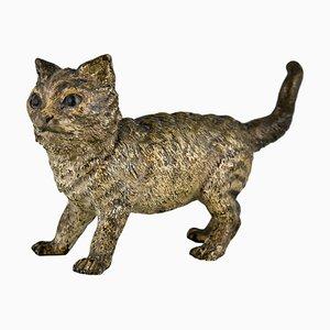 Antike Wiener Bronze Skulptur einer Katze von Bergman, 1900er