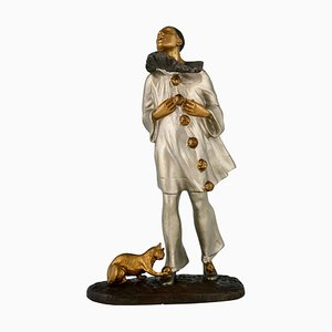 Art Deco Skulptur aus Bronze, Pierrot und Katze, Robert Bousquet, Frankreich, 1915