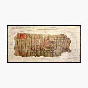 Massimo Dorta, Papyrus Nr. 1, Mischtechnik auf Leinwand