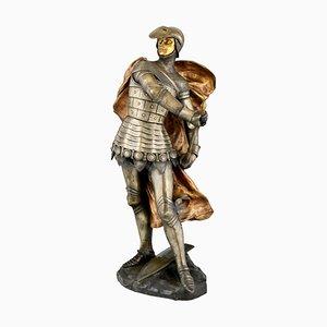 Scultura Art Nouveau in bronzo raffigurante un cavaliere in armatura di Lucas Madrassi