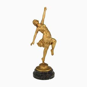Scultura Art Nouveau in bronzo raffigurante una ballerina di Jean Garnier