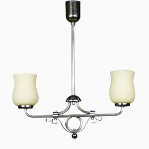 Art Deco Chrome & Glass Pendant Bar Lamp, 1930s