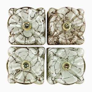 Vintage Glass NOS Wall Lamps from Doria Leuchten, 1960s, Set of 4