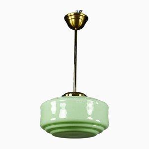 Art Deco Rod Pistachio Glass & Brass Pendant Lamp, 1930s