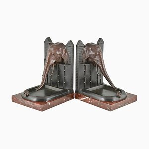 Art Deco Buchstützen aus Bronze mit Vogel-Motiv von R. Patrouilleau, France, 1925, 2er Set
