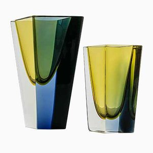 Glass KF 215 Prisma Art Objects by Kaj Franck for Nuutajärvi-Notsjö, Finland, 1963 & 1964, Set of 2