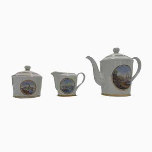 Porcelain Vedute Napoletane Collection Tea Set by Enrico Capuano for Capodimonte, Set of 3