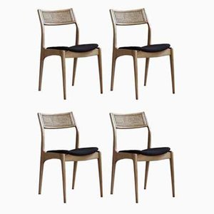 Dining Chairs Reupholstered in Kvadrat Fabric by Edmund Homa for Gościcińskie Fabryki Mebli, Set of 4