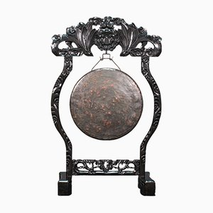 Antique Victorian Chinoiserie Dinner Gong on Ebonised Teak Stand, 1880s