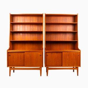 Librerías danesas modernas de teca de Johannes Sorth, años 60. Juego de 2
