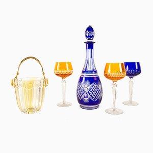 Set de Décanteur Bohémien Vintage en Cristal, 1970s, Set de 5