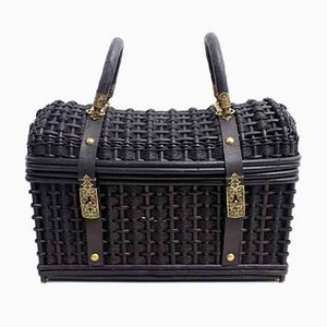 Wicker and Leather Handbag, 19th Century
