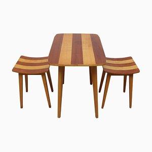 Walnuss & Eschenholz Tisch & Hocker, 1950er, 3er Set