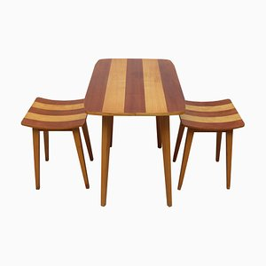 Walnut & Ash Table and Stools, 1950s, Set of 3