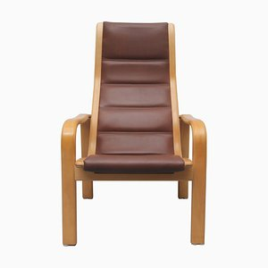 Brown Leather Chair by Yngve Ekström for Swedese, 1980s