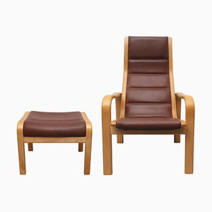 Leather Chair & Footstool Set by Yngve Ekström for Swedese, 1980s