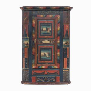 Antique Painted Wardrobe Given as Wedding Gift, Appenzell, Switzerland, 1843