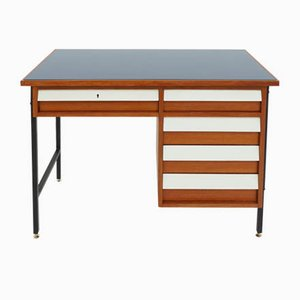Small Italian Desk with Drawers in Blue Glass, 1950s